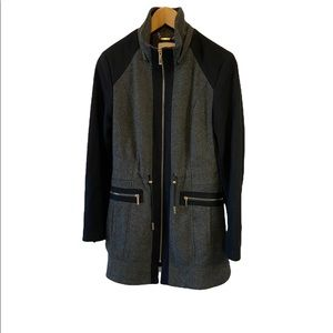 LAUNDRY Tweed Black&Grey Colour-blocked Zip Wool Blend Fitted Military Pea Coat